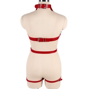 Image 5 - Red Strap Top Cage Leather Harness Bra Bondage for Women Metal Chain Body Harness Set Garter Belt Punk Gothic Plus Size Adjust