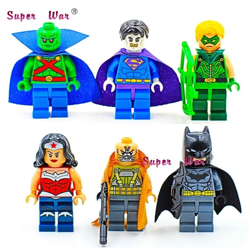6pcs star wars super heroes marvel batman Wonder Woman zombie supuerman building blocks model bricks toys for children