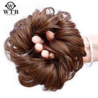 WTB cheveux courts queue Chignons cheveux résistant à la chaleur synthétique cheveux corde naturel faux cheveux chignon bouclé Clip dans les Extensions de cheveux