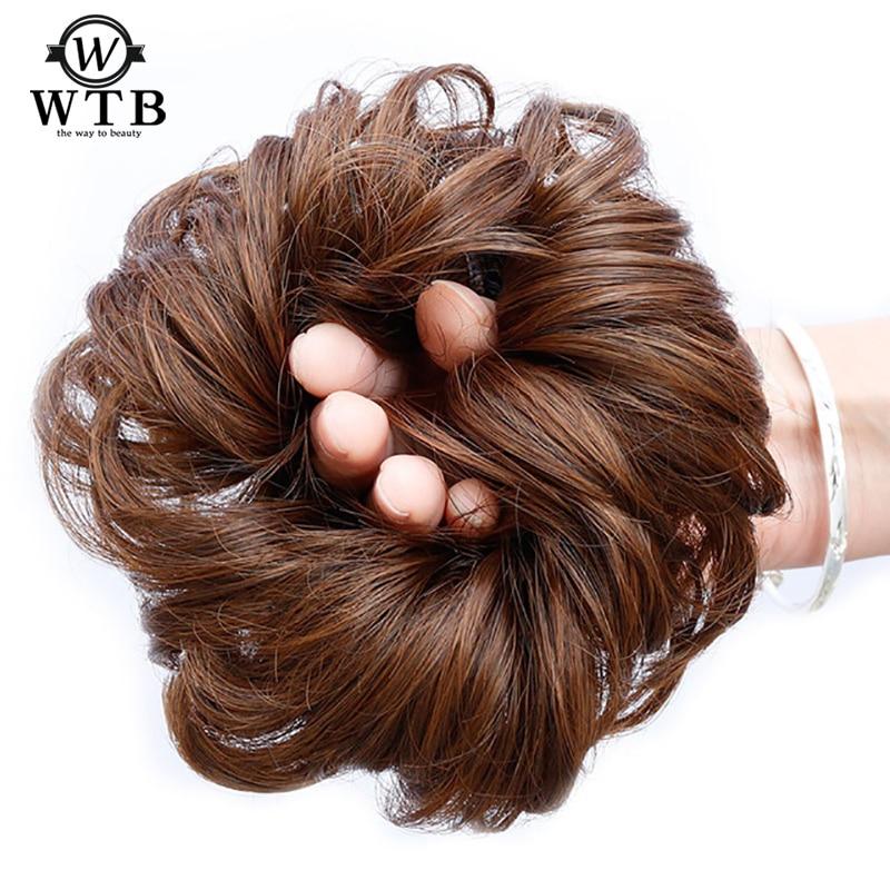 WTB Hair Short Tail Chignons Hair Heat Resistant Synthetic Hair Rope Natural Fake Hair Bun Curly Clip In Hair Extensions