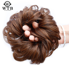 WTB Hair Short Tail Chignons Hair Heat Resistant Synthetic Hair Rope Natural Fake Hair Bun Curly Clip In Hair Extensions trendy chestnut brown capless shaggy curly heat resistant fiber women s chignons