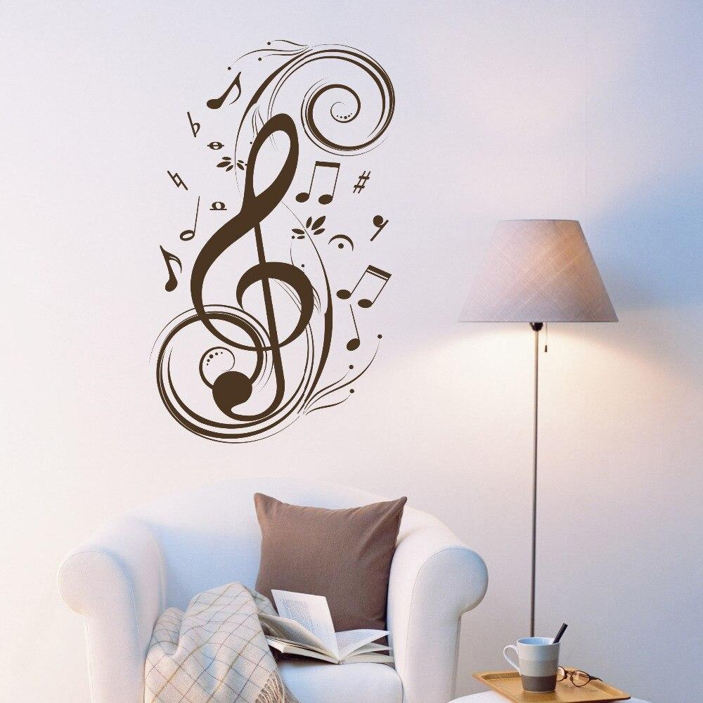 Mengalahkan Catatan Musik Wall Art Stiker Vinyl Dinding Vinil Kualitas Bagus Dekorasi Grafis Seni Rumah Pengiriman Gratis G0084