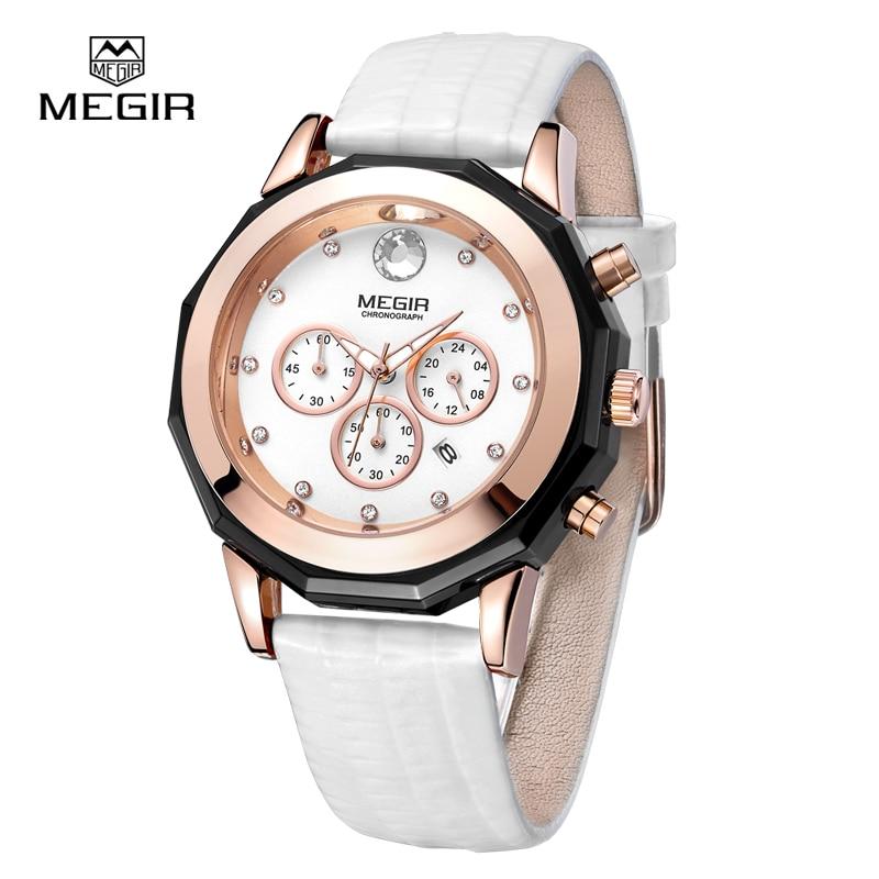 MEGIR Quartz Luxury Woman Watches Fashion Women Watch Leather Bracelet Golden Clocks Ladies Wristwatch Waterproof 2042 with box 2016 luxury wristwatch women quartz watch leather ladies watches black face