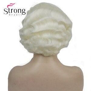 Image 3 - Strong beauty perruque synthétique complète courte ondulée à doigt ondulé Blonde 1920