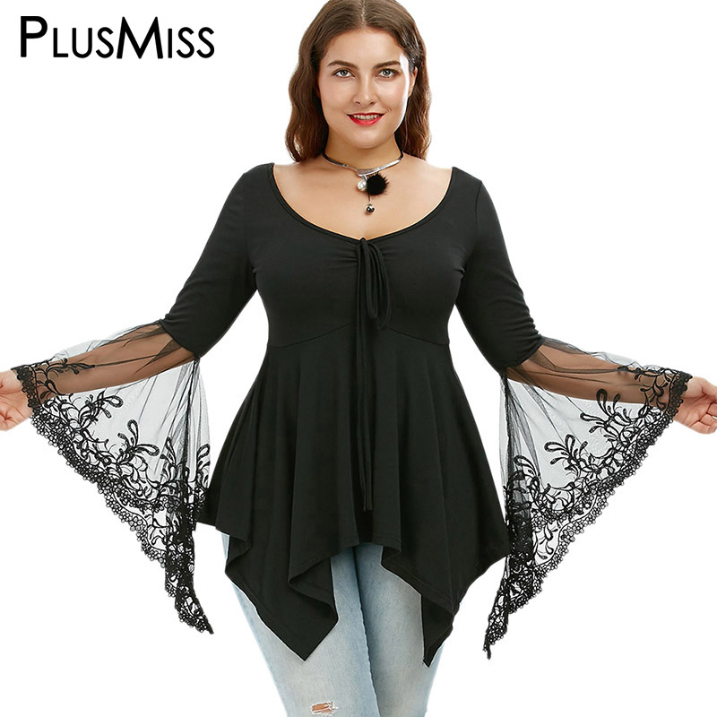 GIYI Plus Size 5XL Women Clothing Sexy Lace Bell Flare Sleeve Blouse Summer 2017 Black Tunic