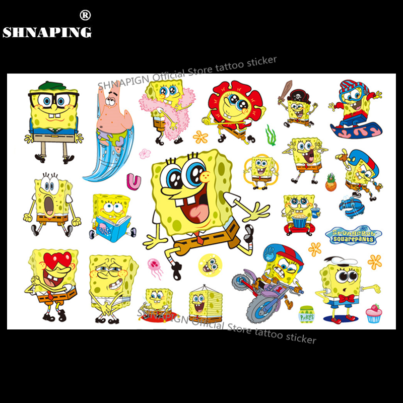 SHNAPIGN SpongeBob Child Temporary Body Art Flash Tattoo Sticker 10*17cm Waterproof Henna Fake Tatoo Styling Tattoo Sticker