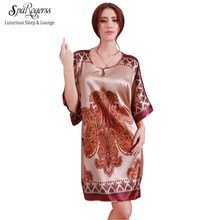 SpaRogerss Women Nightgowns Sleepshirts 2017 Women Summer Style Nightdress Bath Robe Faux Silk Bathrobe Sleepwear Lounge 5413