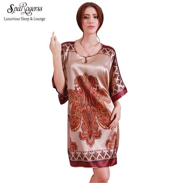 SpaRogerss Women Nightgowns Sleepshirts 2017 Women Summer Style Nightdress Bath Robe Faux Silk Bathrobe Sleepwear Lounge YT5413