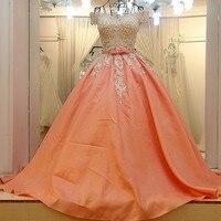 Robes de soiree 2018 longue lace up back appliqued short sleeves off the shoulder satin long peach evening dress