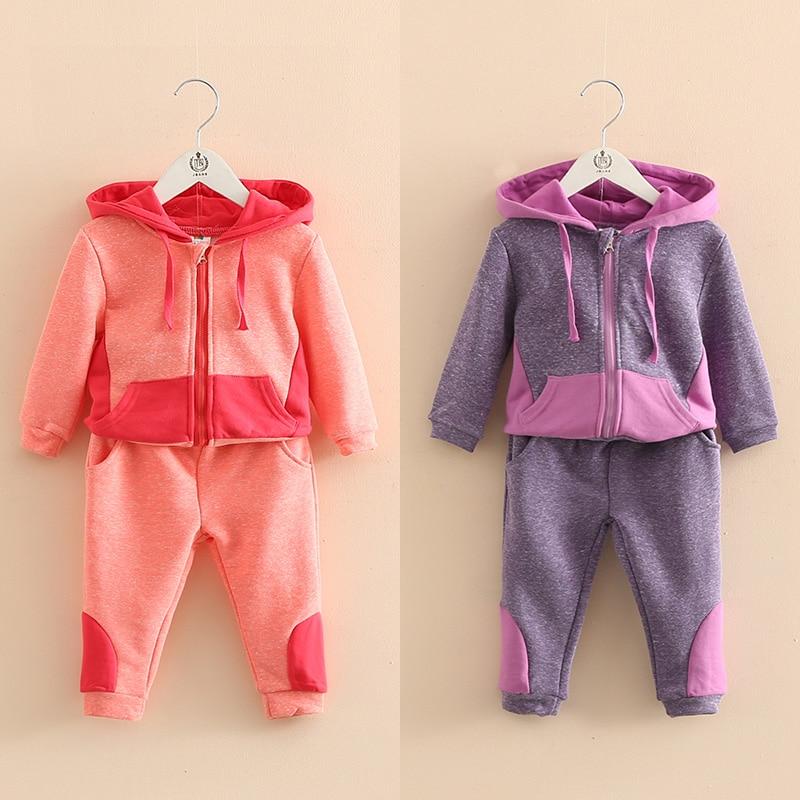 Autumn Girls Sports Suit quality Children Clothing Sets Baby Kids Sportswear school Child Hoodies Jacket & Pants Twinset 2-7Year
