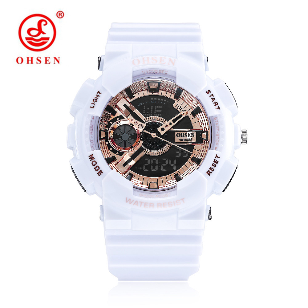 OHSEN Multifunction Dual Time Display Women Digital Watches Sport Waterproof Watch Children Boy Light Quartz Wrist Watch montre