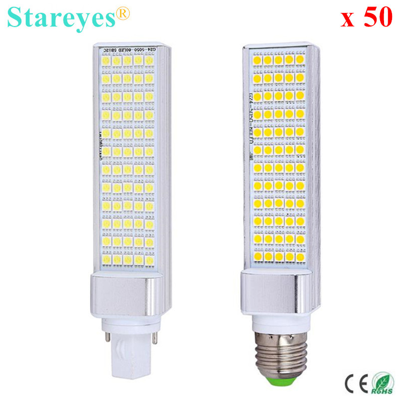 Free Shipping 50 pcs G24 G23 E27 12W SMD 5050 60 LED PL Corn Bulb LED Light 930LM LED transverse inserted light 85-265V