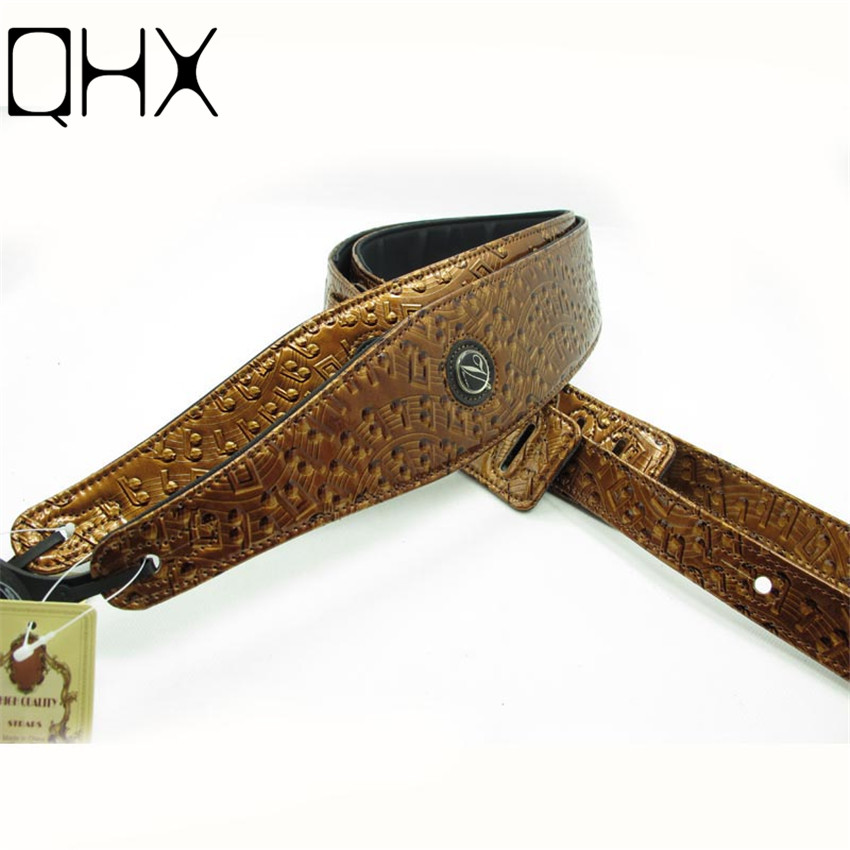 QHX 1Pcs High Quality leather Golden guitar strap for acoustic guitar bass Electric guitar parts musical instruments accessories two way regulating lever acoustic classical electric guitar neck truss rod adjustment core guitar parts