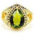 7 # Падение Зеленый Перидот, CZ SheCrown Дамы Свадьба Создания Золото Серебро Кольцо 22 х 18 мм