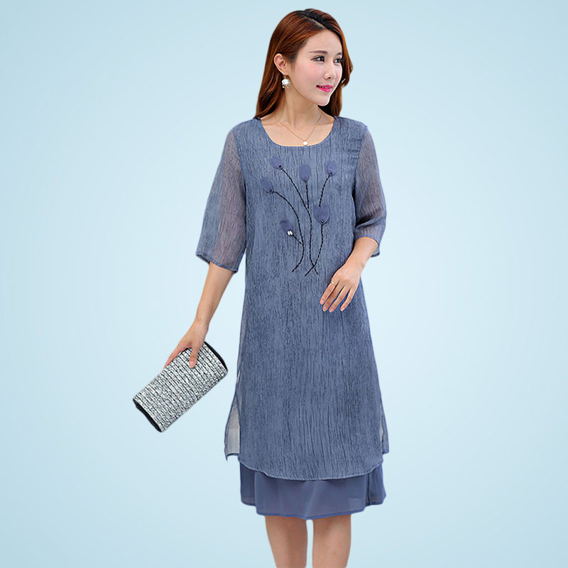 Half Sleeve Chiffon Dresses High Quality Middle Age Mother Summer Long Dress Big Size Women Beaded Decals O Neck Dress QH0031