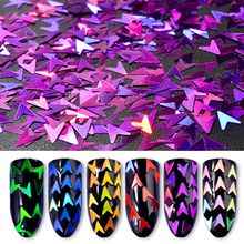 Pandahall 6Pcs/set Laser Arrow Glitter Nail Sequins Flakes 3d Manicure Art Decorations
