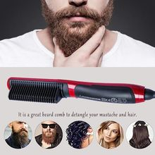Портативный выпрямитель для бороды Расческа Щетка для выпрямления волос Мгновенный инструмент для укладки для мужчин