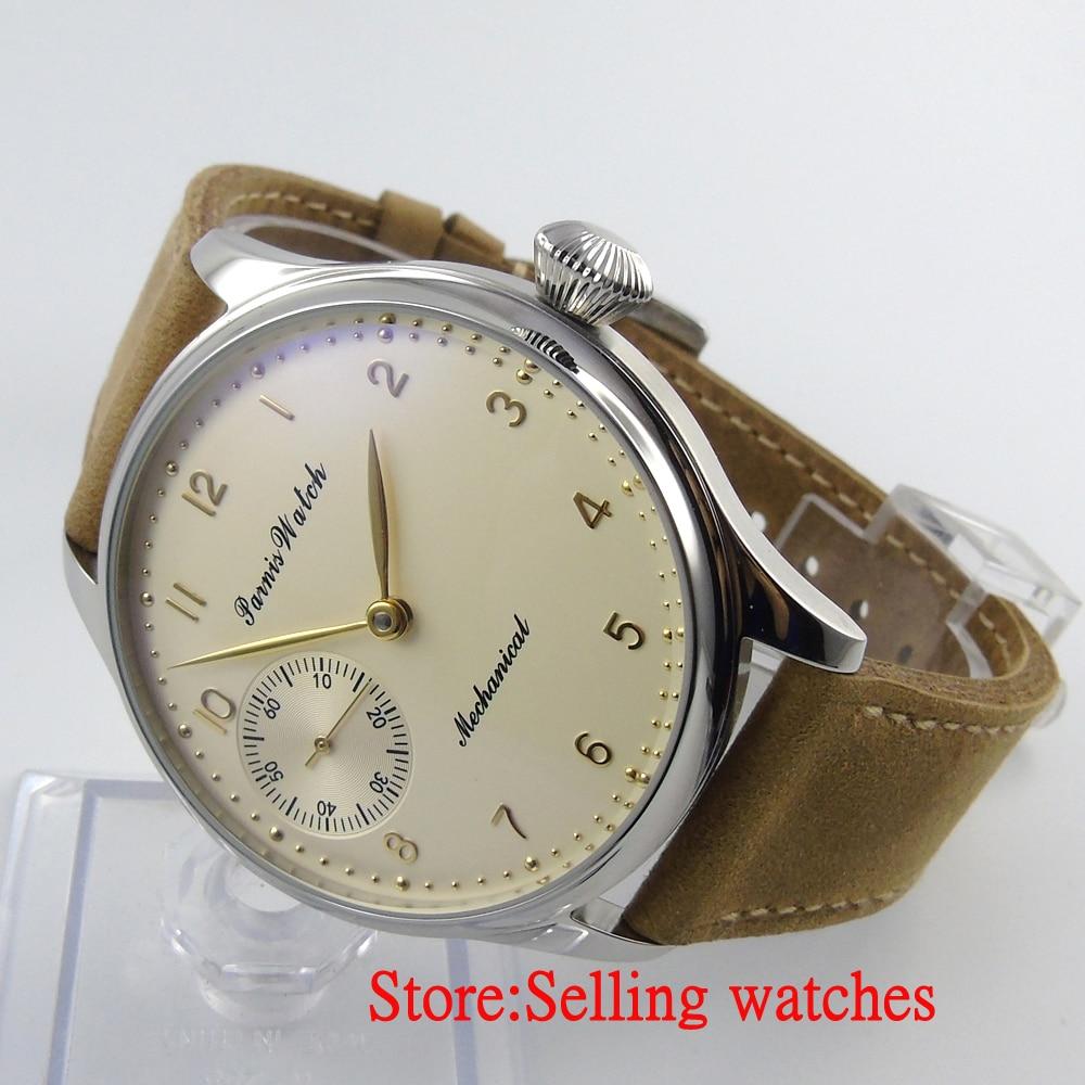 Parnis 44 мм светло-желтый ручной большой Механическая Рука обмотки 6497 мужские часы