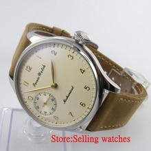 Parnis 44mm light yellow hand big Mechanical hand winding 6497 Men's Watch