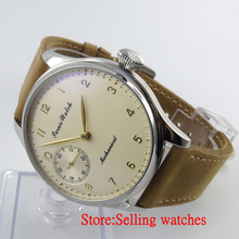 Parnis 44mm light yellow hand big Mechanical hand winding 6497 Men's Watch