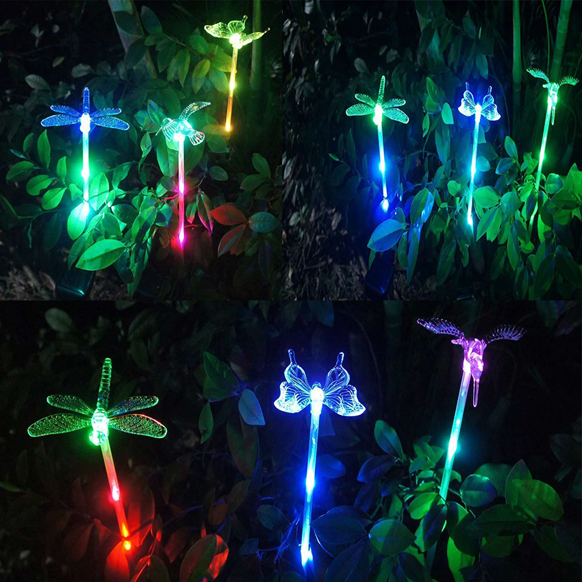 Solar Night Light Color Changing Solar Garden Lights Bird Butterfly Dragonfly Waterproof For Outdoor Landscape Path Lawn Lamp in Solar Lamps from Lights Lighting