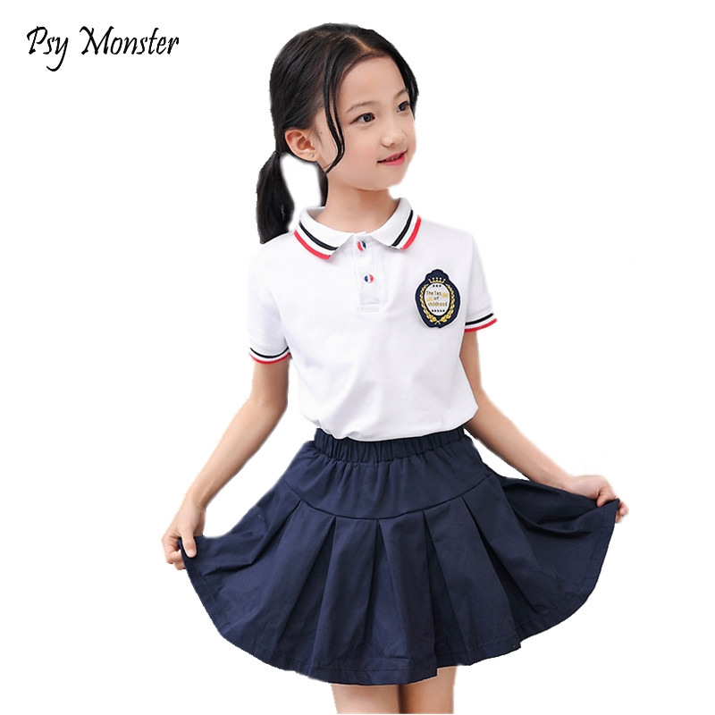 2018 Kindergarten Boys Girls School Wear Uniforms British Style Primary Middle School Students Boys Pants Girls Skirts Set C136