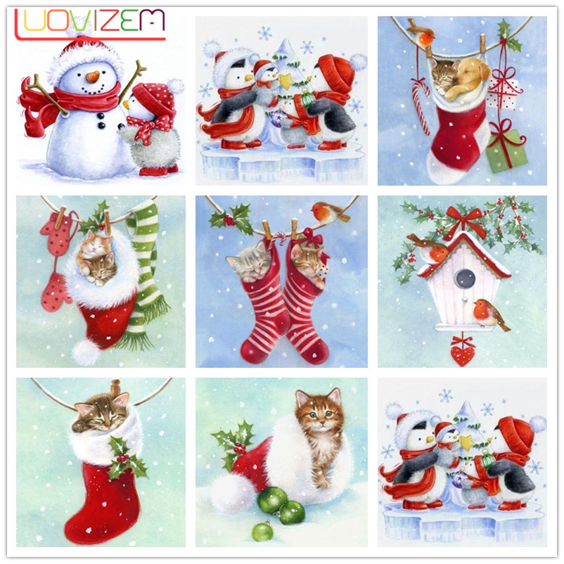 Diamond Painting Cats  5D DIY Christmas Card Gift Full Square/Round Drill  3D Embroidery Cross Stitch Mosaic Home Decoration