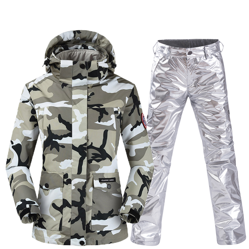 Ski Suit Women's Ski Suit 2019 NEW Warm Thick Winter Veneer Double Ski Pants Three-in-one Detachable Waterproof Female Ski Suit