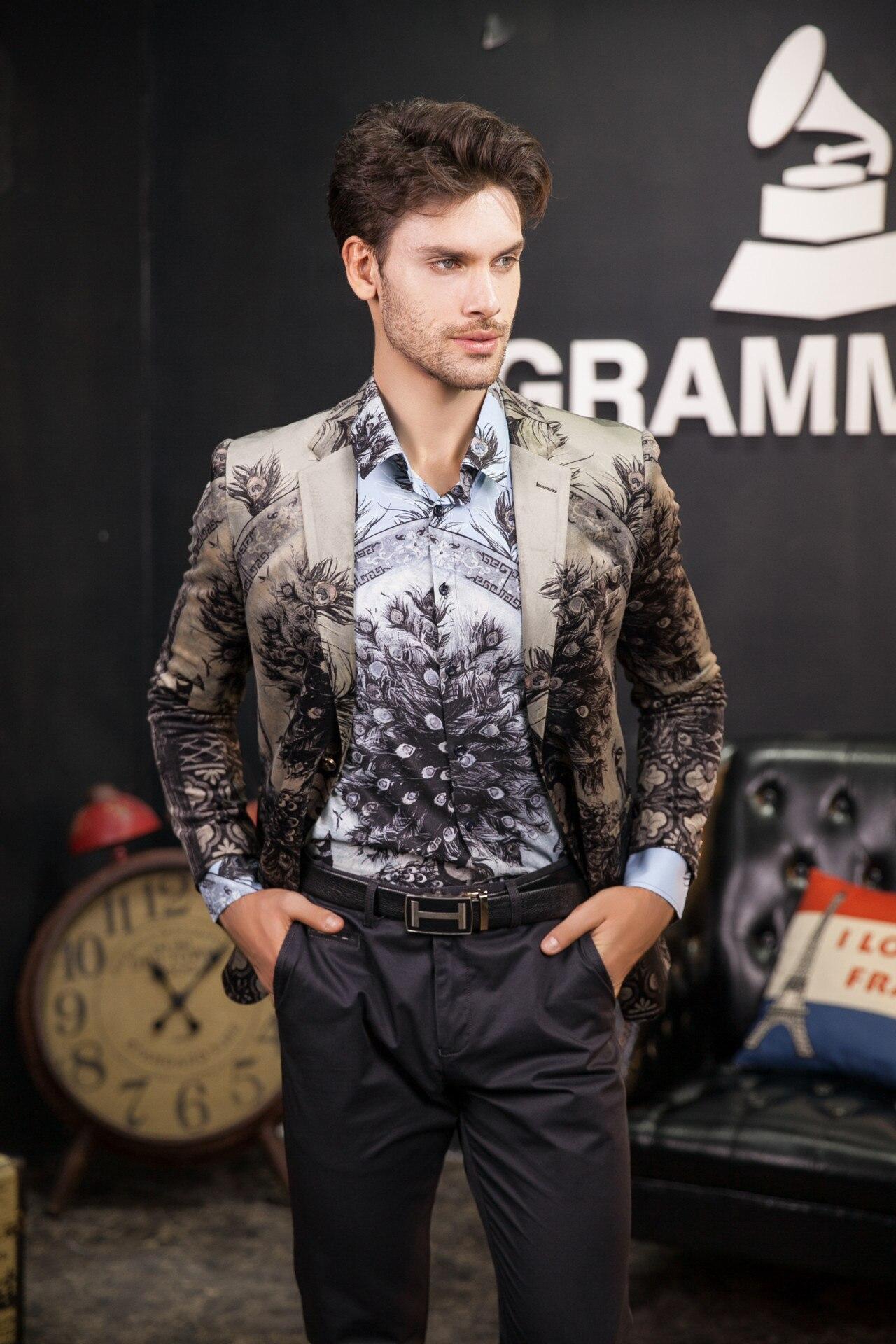 Gedruckt Blazer Männer Floral Casual Männlichen Blazer 2020 Frühling Neue Ankunft Fashion herren Blazer Slim Fit - 3
