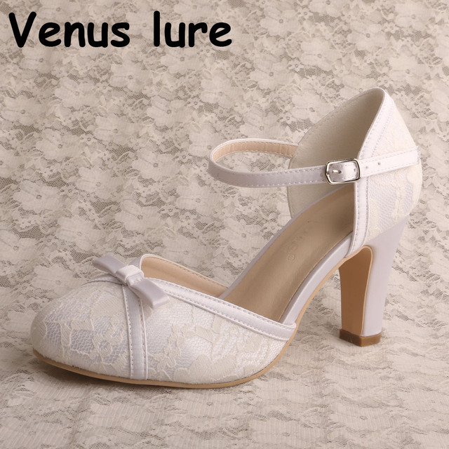 c20228df5e1 New Design Mary Janes Wedding Shoes with Block Heel White Ivory Lace Bridal  Pumps
