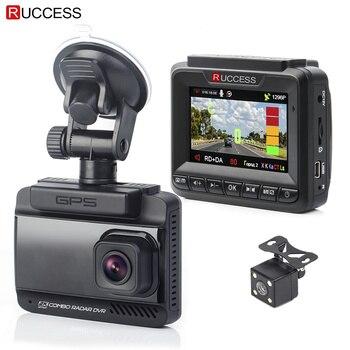Ruccess 3 em 1 Embutido GPS Anti Radar de Velocidade Detector de Radar Do Carro DVR Dual Lens Full HD 1296 p 170 grau Gravador de Vídeo 1080 p