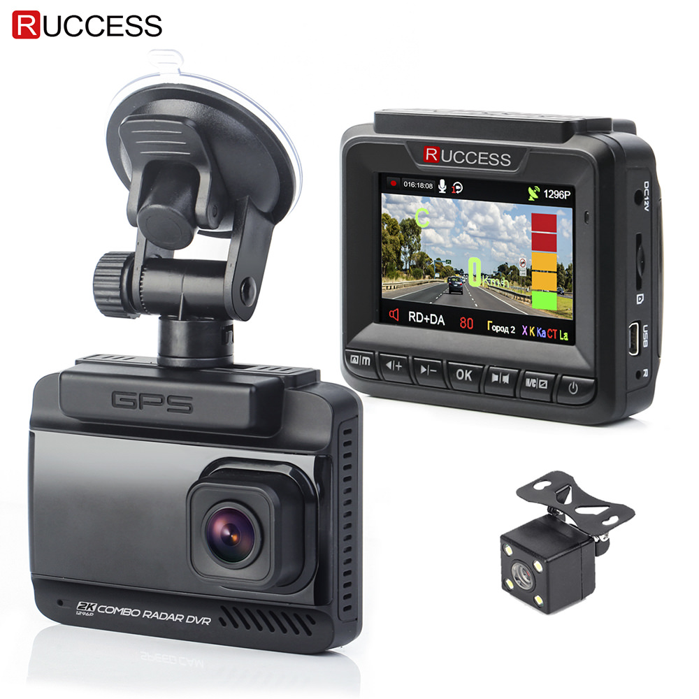 Ruccess 3 in 1 Auto Radar Detektor DVR Eingebaute GPS Geschwindigkeit Anti Radar Dual Objektiv Full HD 1296 p 170 grad-Video Recorder 1080 p