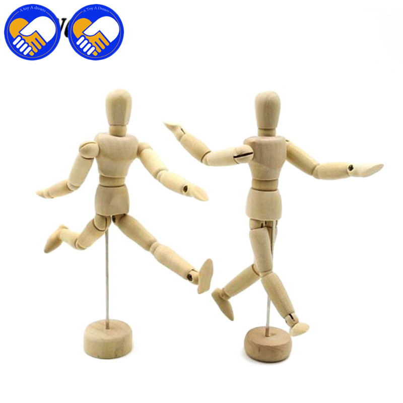 1 Piece 16 Moveable Joints Wooden Man Figure Toys Dolls with Standing Flexible Wood Man Naked Dolls Body Model Toy for Kid Gifts