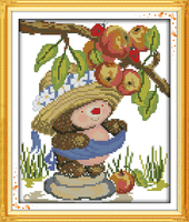 Joy Sunday The Hedgehog Picking Apples Painting Counted Or Stamped 11CT 14CT Chinese Cross Stitch Kits
