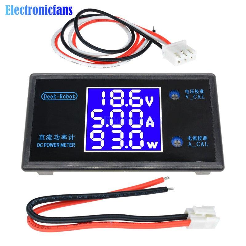 DC 7-12V 5A 250W Digital LCD Display Current Power Meter Volt Detector Tester Monitor Voltmeter Ammeter Wattmeter Voltage 0-50V