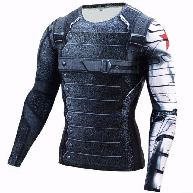 2017 супергероев Marvel Зимний Солдат баки 3D Для мужчин футболка Фитнес Crossfit футболка с длинным рукавом рубашка сжатия Для мужчин s MMA