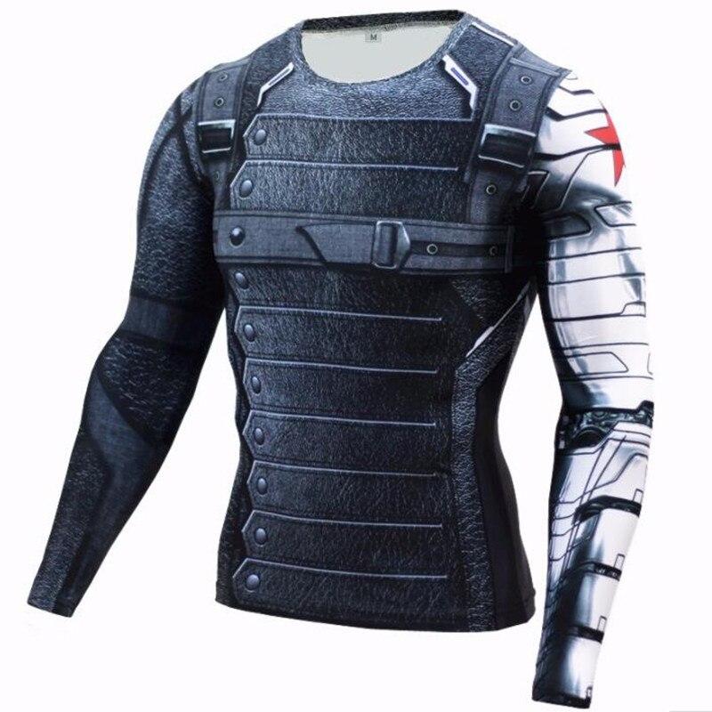 2017 Marvel superhéroe Soldado de invierno Bucky 3D hombres camiseta Fitness Crossfit Camiseta de manga larga camisa de compresión MMA