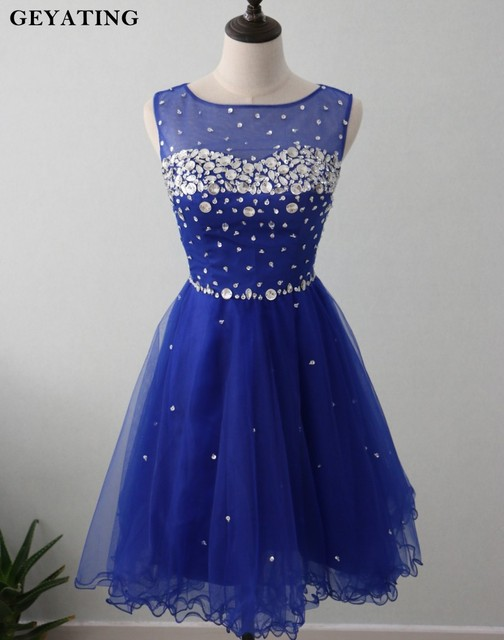 Royal Blue Short Homecoming Dresses 2018 Cheap Cute 8th Grade Graduation  Dresses for High School Cocktail Prom Dress Party Gowns d9d393ae9