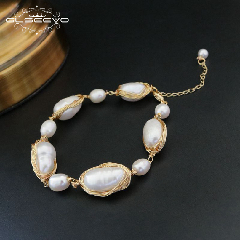 GLSEEVO Natural Fresh Water Baroque Pearl Bracelets For Women Engagement Gift Adjustable Bracelets & Bangle Fine Jewelry GB0055 [nymph] pearl bracelets natural pearl jewelry baroque natural fresh water pearl bracelet for women s311