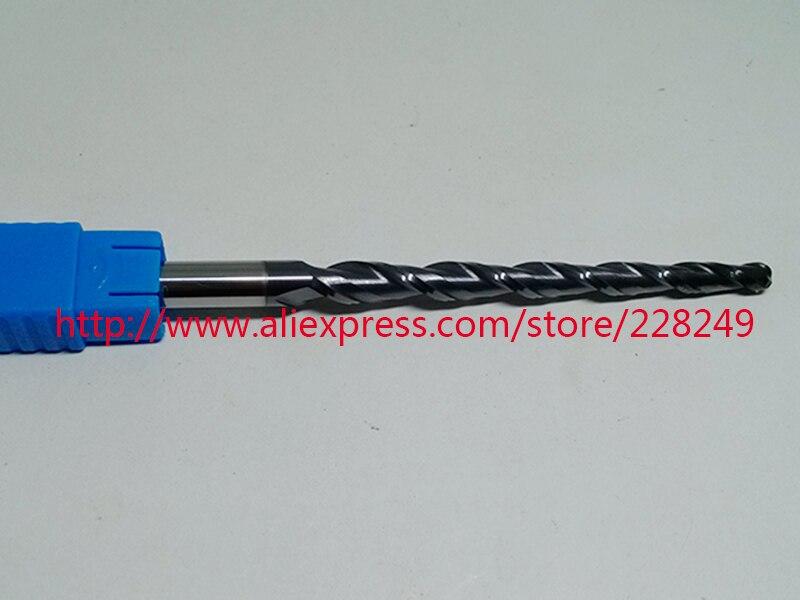 1 pc R2 * D8 * 60 * 100L * 2F HRC55 De Tungstène carbure solide Revêtu Conique Balle Nez Fin Mills CNC fraises
