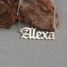 Personalized Name Necklace Customized Nameplate Custom Old English style Jewelry