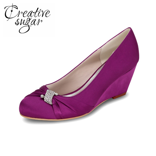 Creativesugar lady's wedges satin evening dress beach wedding shoes with rhinestone ring and knot purple red silver grey ivory