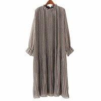[AZURE SHEN] zima Loose Women Sukienka 2018 Śliczne Casual Lace Up Stań Collar Floral Plisowane Flare Rękawem Vestidos Mujer K126003