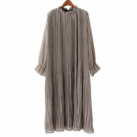 AZURE SHEN Winter Loose Women Dress 2018 Cute Casual Lace Up Stand Collar Floral Pleated