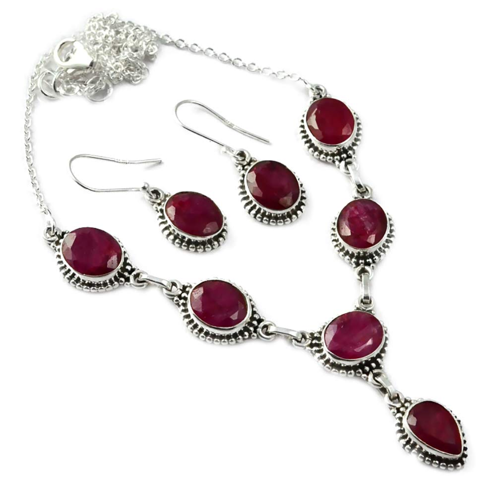 Ruby Necklace + Earrings set 925 Sterling Silver, 51 cm, MHBNE0071Ruby Necklace + Earrings set 925 Sterling Silver, 51 cm, MHBNE0071