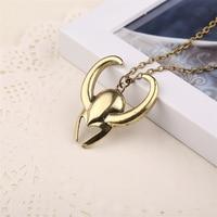 Loki Helmet Necklace Golden Color Pendant 3