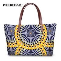 WHEREISART India Mandala Style Handbags for Women Fashion Striped 3D Printing Tote Shoulder Bags Luxury Female Shopping Handbag