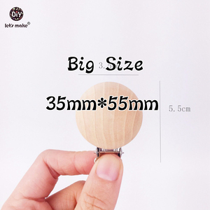 Image 4 - Lets Make Natural Wooden 20pc Pacifier Maple Metal Clips Holder Round Wooden Teething Beads Teether Baby For Dummy Chain