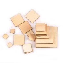 50 pçs forma quadrada fatias de madeira para scrapbooking decoração para casa artesanato artesanal ornamentos de madeira natural 10/20/30/40/50mm m2133