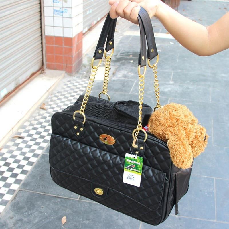 Hunde Tasker Pet Carrier Bærbare Rejse Bæreposer Faux Leather Mesh Breathable Cat Dog Bag Håndtaske Puppy Carrier 40 * 18 * 27cm